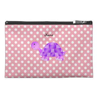 Personalized name purple turtle pink polka dots travel accessory bags