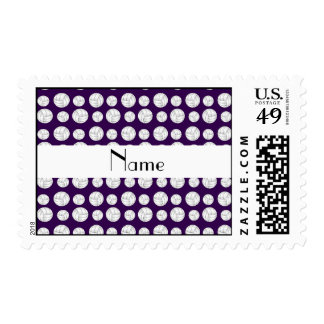 Personalized name purple volleyball balls stamps