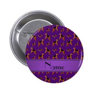 Personalized name purple Welsh Terrier dogs 2 Inch Round Button