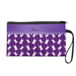 Personalized name purple white bunnies wristlet purses