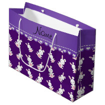 Personalized name purple white bunnies large gift bag