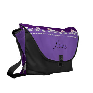 Personalized name purple white bunnies courier bags