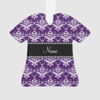 Personalized name purple white damask
