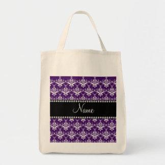 Personalized name purple white damask tote bag