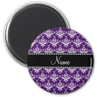 Personalized name purple white damask fridge magnet