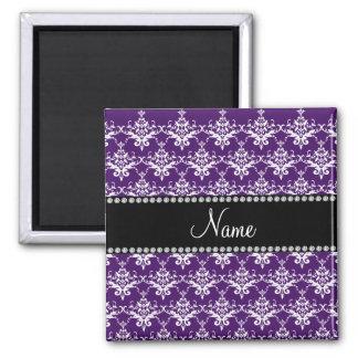 Personalized name purple white damask refrigerator magnet