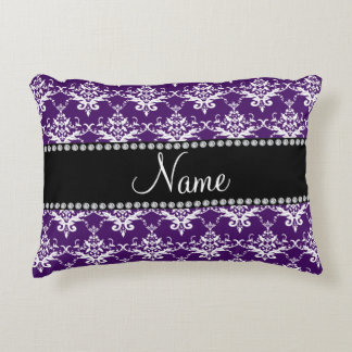 Personalized name purple white damask accent pillow