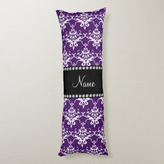 Personalized name purple white damask body pillow