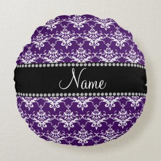 Personalized name purple white damask round pillow
