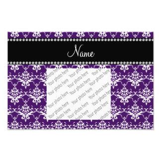 Personalized name purple white damask photograph