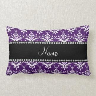 Personalized name purple white damask pillows