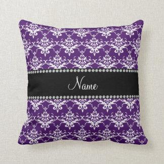 Personalized name purple white damask pillow