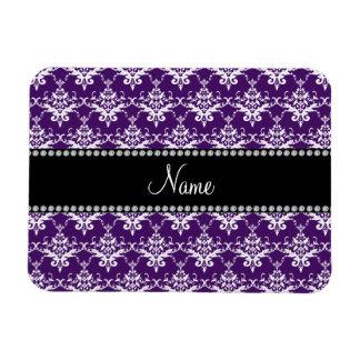 Personalized name purple white damask flexible magnet