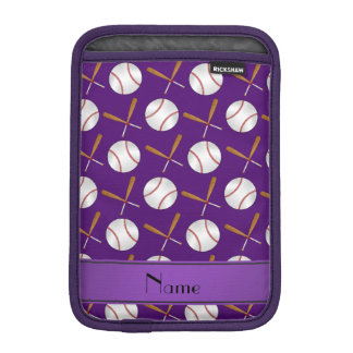 Personalized name purple wooden bats baseballs iPad mini sleeves
