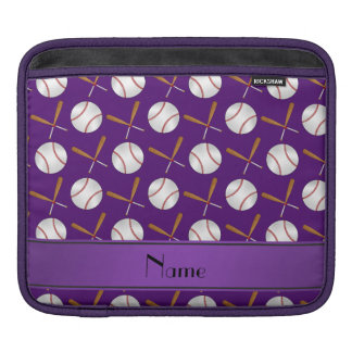 Personalized name purple wooden bats baseballs iPad sleeves