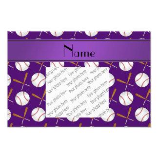Personalized name purple wooden bats baseballs photo print