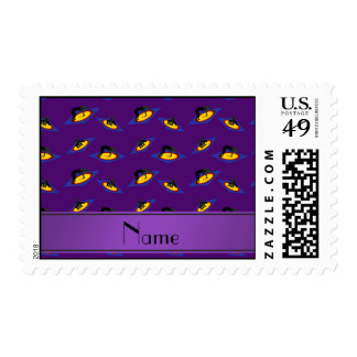 Personalized name purple wrestlers on mat postage