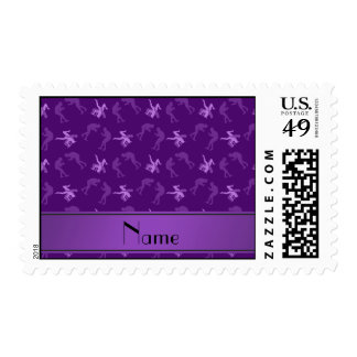 Personalized name purple wrestlers postage