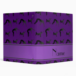 Personalized name purple wrestling silhouettes 3 ring binder
