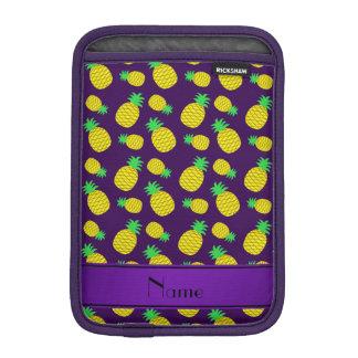 Personalized name purple yellow pineapples iPad mini sleeves