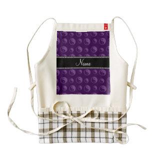 Personalized name purple ying yang pattern zazzle HEART apron