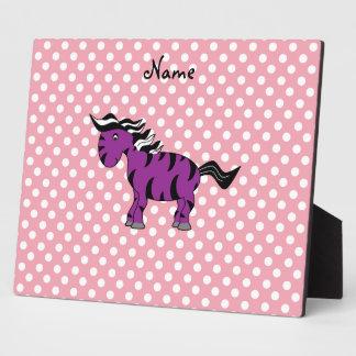 Personalized name purple zebra display plaque