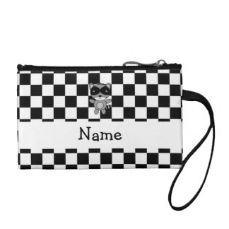 Personalized name raccoon black white checkers coin purse