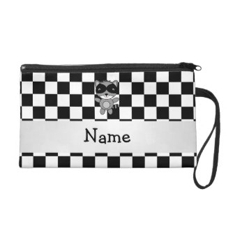 Personalized name raccoon black white checkers wristlet clutches