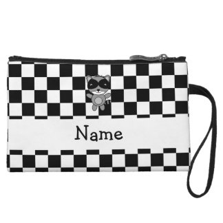 Personalized name raccoon black white checkers wristlet purse