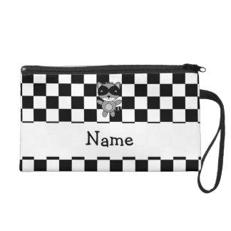 Personalized name raccoon black white checkers wristlets