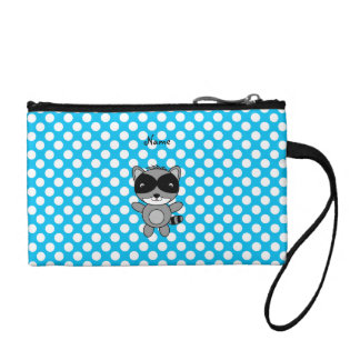 Personalized name raccoon blue polka dots coin wallet
