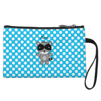 Personalized name raccoon blue polka dots wristlet purses