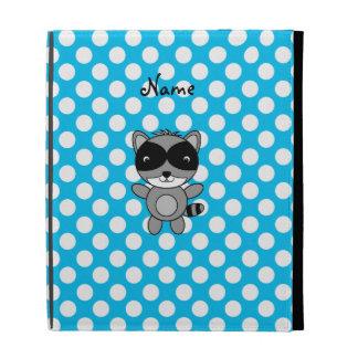 Personalized name raccoon blue polka dots iPad folio cover