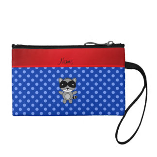 Personalized name raccoon blue polka dots coin purse
