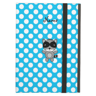 Personalized name raccoon blue polka dots iPad cases