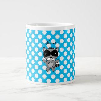 Personalized name raccoon blue polka dots large coffee mug