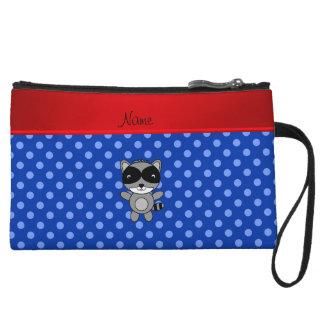 Personalized name raccoon blue polka dots wristlet