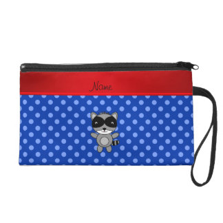 Personalized name raccoon blue polka dots wristlet clutches