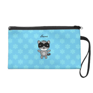 Personalized name raccoon blue snowflakes wristlet purses
