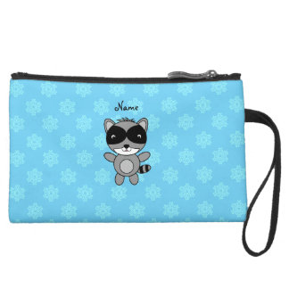 Personalized name raccoon blue snowflakes wristlet clutch