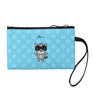 Personalized name raccoon blue snowflakes coin wallets