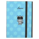 Personalized name raccoon blue snowflakes iPad cover
