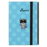 Personalized name raccoon blue snowflakes cases for iPad mini