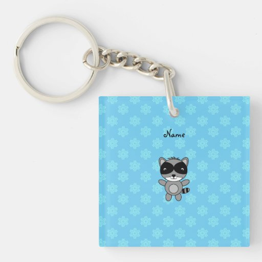 Personalized name raccoon blue snowflakes keychains