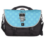 Personalized name raccoon blue snowflakes commuter bag