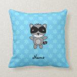 Personalized name raccoon blue snowflakes throw pillow
