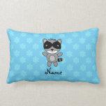 Personalized name raccoon blue snowflakes throw pillows