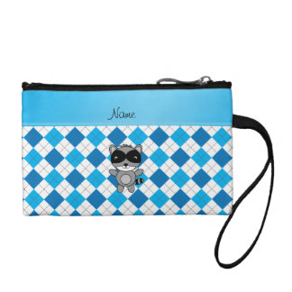 Personalized name raccoon blue white argyle coin wallet