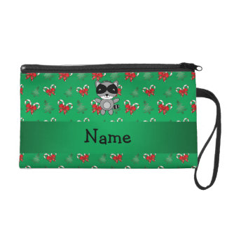 Personalized name raccoon green candy canes bows wristlet purse