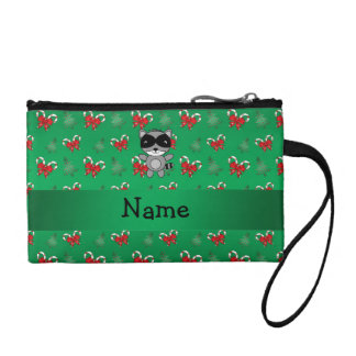 Personalized name raccoon green candy canes bows coin wallets